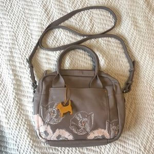Racket London Leather Crossbody Floral Bag